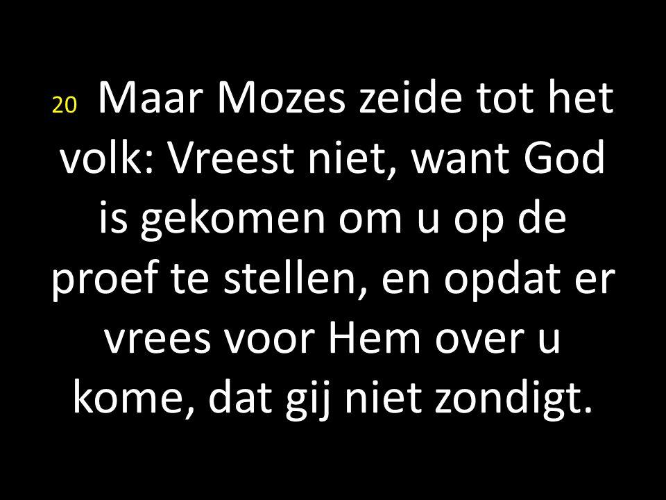 20 Maar Mozes zeide tot het volk: Vreest niet, want God is gekomen om u op de proef te stellen, en opdat er vrees voor Hem over u kome, dat gij niet z