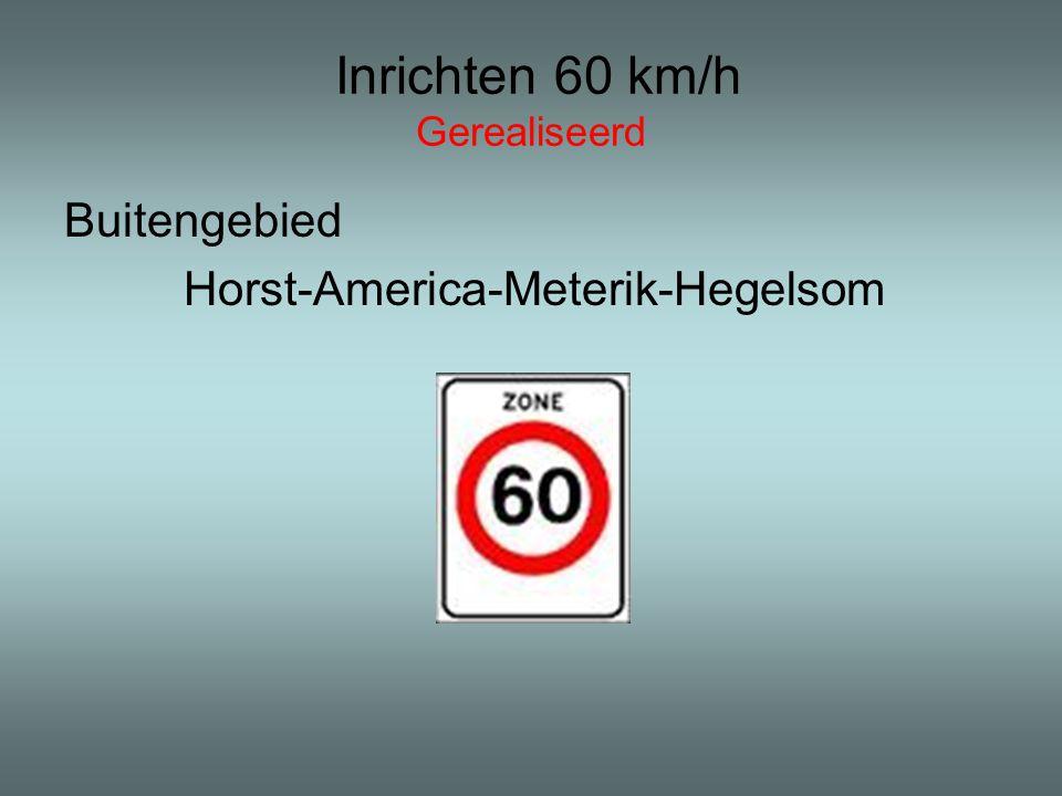 Inrichten 60 km/h Gerealiseerd Buitengebied Horst-America-Meterik-Hegelsom