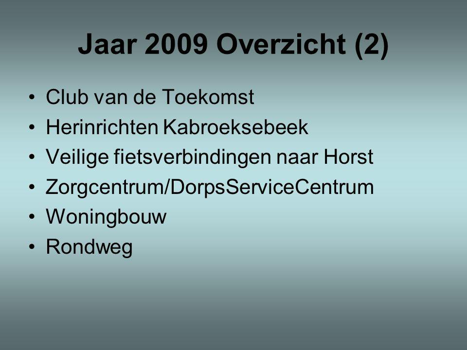 Jaar 2009 Overzicht (2) •Club van de Toekomst •Herinrichten Kabroeksebeek •Veilige fietsverbindingen naar Horst •Zorgcentrum/DorpsServiceCentrum •Woni
