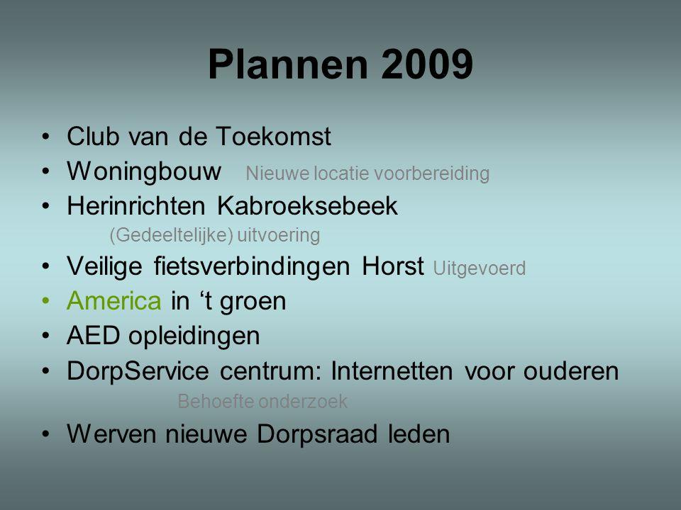 Plannen 2009 •Club van de Toekomst •Woningbouw Nieuwe locatie voorbereiding •Herinrichten Kabroeksebeek (Gedeeltelijke) uitvoering •Veilige fietsverbi