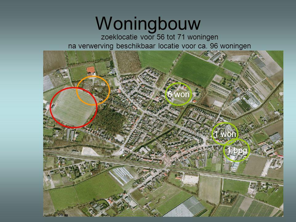 Woningbouw zoeklocatie voor 56 tot 71 woningen na verwerving beschikbaar locatie voor ca. 96 woningen 6 won 1 won 1 bpg