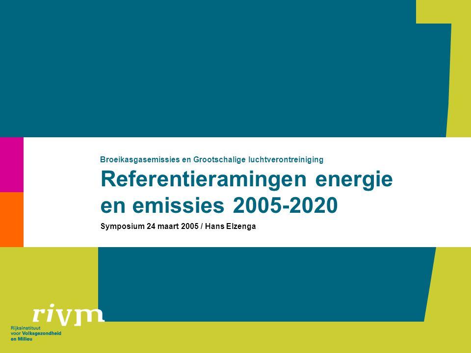 Referentieramingen energie en emissies 2005-2020 Broeikasgasemissies en Grootschalige luchtverontreiniging Symposium 24 maart 2005 / Hans Elzenga