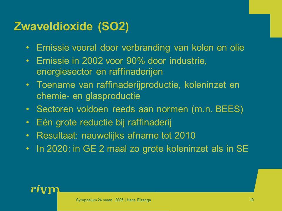 Symposium 24 maart 2005 | Hans Elzenga10 Zwaveldioxide (SO2) •Emissie vooral door verbranding van kolen en olie •Emissie in 2002 voor 90% door industrie, energiesector en raffinaderijen •Toename van raffinaderijproductie, koleninzet en chemie- en glasproductie •Sectoren voldoen reeds aan normen (m.n.