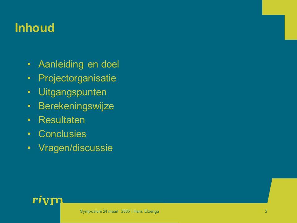 Symposium 24 maart 2005 | Hans Elzenga2 Inhoud •Aanleiding en doel •Projectorganisatie •Uitgangspunten •Berekeningswijze •Resultaten •Conclusies •Vragen/discussie