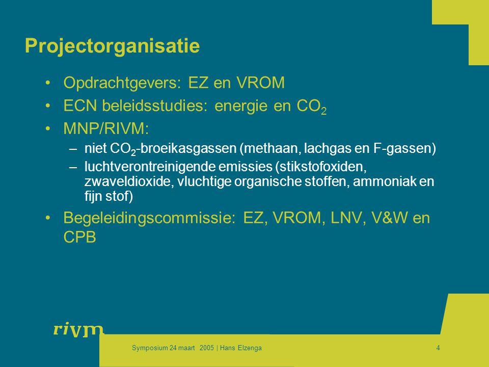 Symposium 24 maart 2005 | Hans Elzenga4 Projectorganisatie •Opdrachtgevers: EZ en VROM •ECN beleidsstudies: energie en CO 2 •MNP/RIVM: –niet CO 2 -broeikasgassen (methaan, lachgas en F-gassen) –luchtverontreinigende emissies (stikstofoxiden, zwaveldioxide, vluchtige organische stoffen, ammoniak en fijn stof) •Begeleidingscommissie: EZ, VROM, LNV, V&W en CPB