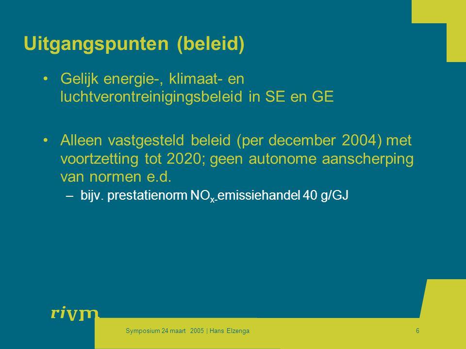 Symposium 24 maart 2005 | Hans Elzenga6 Uitgangspunten (beleid) •Gelijk energie-, klimaat- en luchtverontreinigingsbeleid in SE en GE •Alleen vastgesteld beleid (per december 2004) met voortzetting tot 2020; geen autonome aanscherping van normen e.d.
