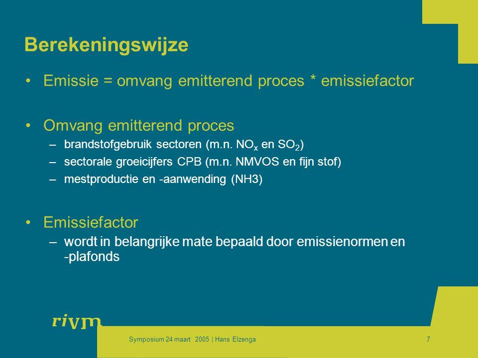 Symposium 24 maart 2005 | Hans Elzenga7 Berekeningswijze •Emissie = omvang emitterend proces * emissiefactor •Omvang emitterend proces –brandstofgebruik sectoren (m.n.