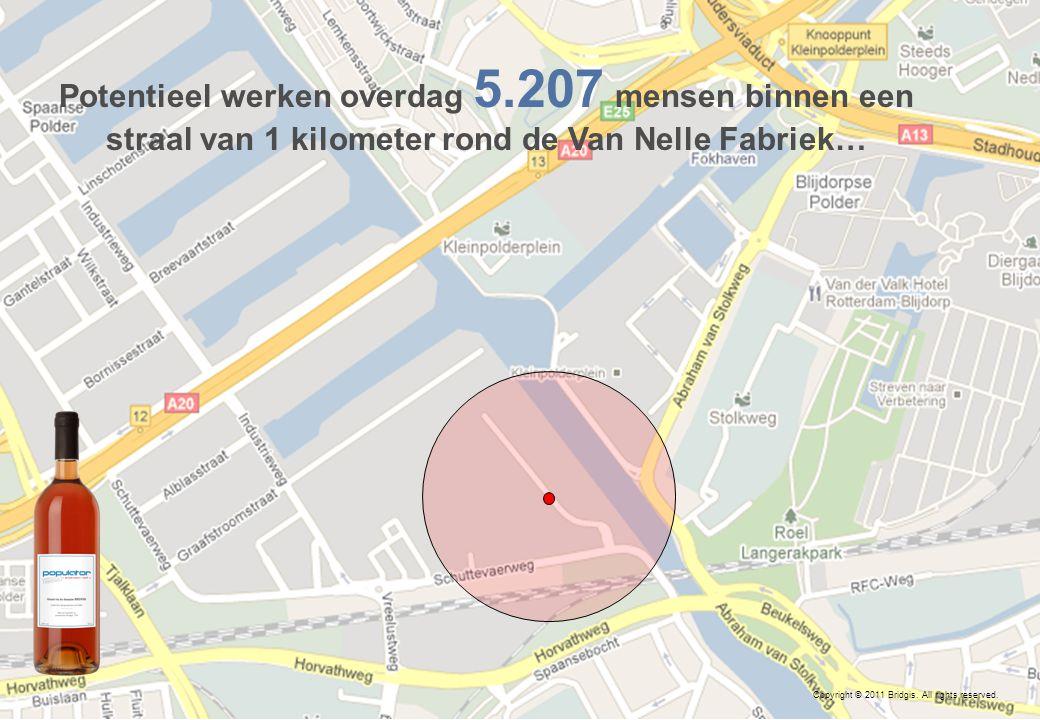 14 Copyright © 2011 Bridgis. All rights reserved. Potentieel werken overdag 5.207 mensen binnen een straal van 1 kilometer rond de Van Nelle Fabriek…