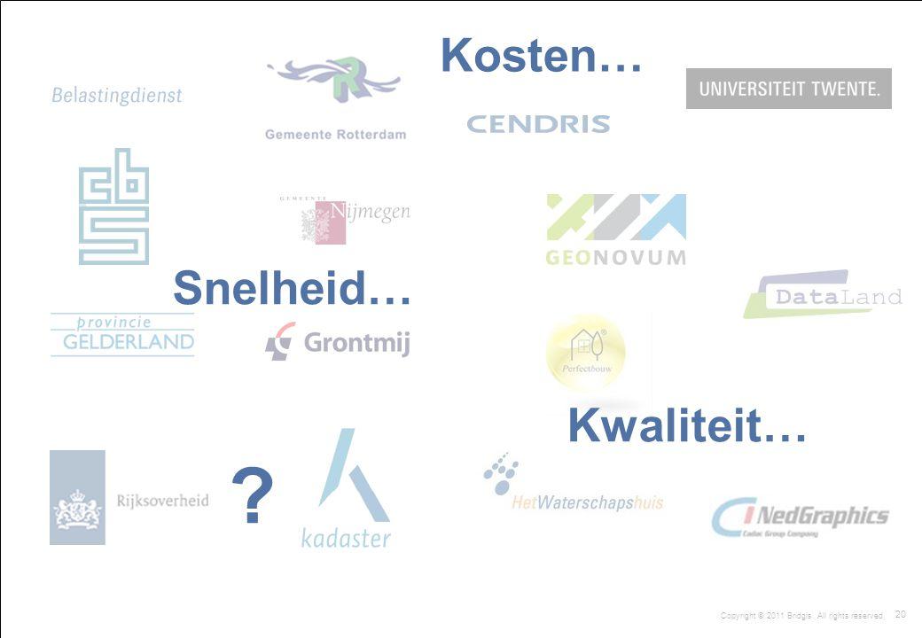 20 Copyright © 2011 Bridgis. All rights reserved. Kosten… Snelheid… Kwaliteit… ?
