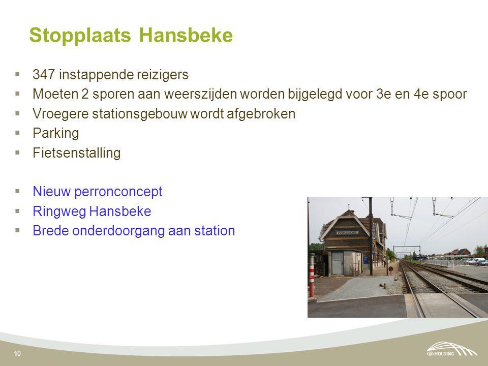 10 Stopplaats Hansbeke  347 instappende reizigers  Moeten 2 sporen aan weerszijden worden bijgelegd voor 3e en 4e spoor  Vroegere stationsgebouw wo