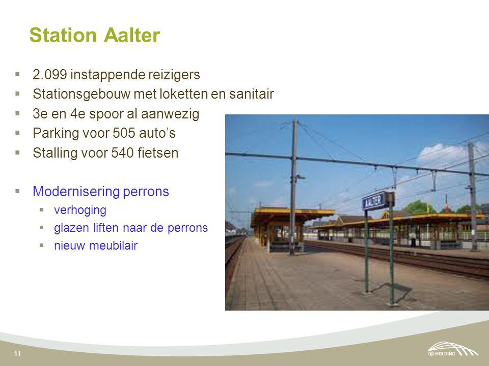 11 Station Aalter  2.099 instappende reizigers  Stationsgebouw met loketten en sanitair  3e en 4e spoor al aanwezig  Parking voor 505 auto's  Sta