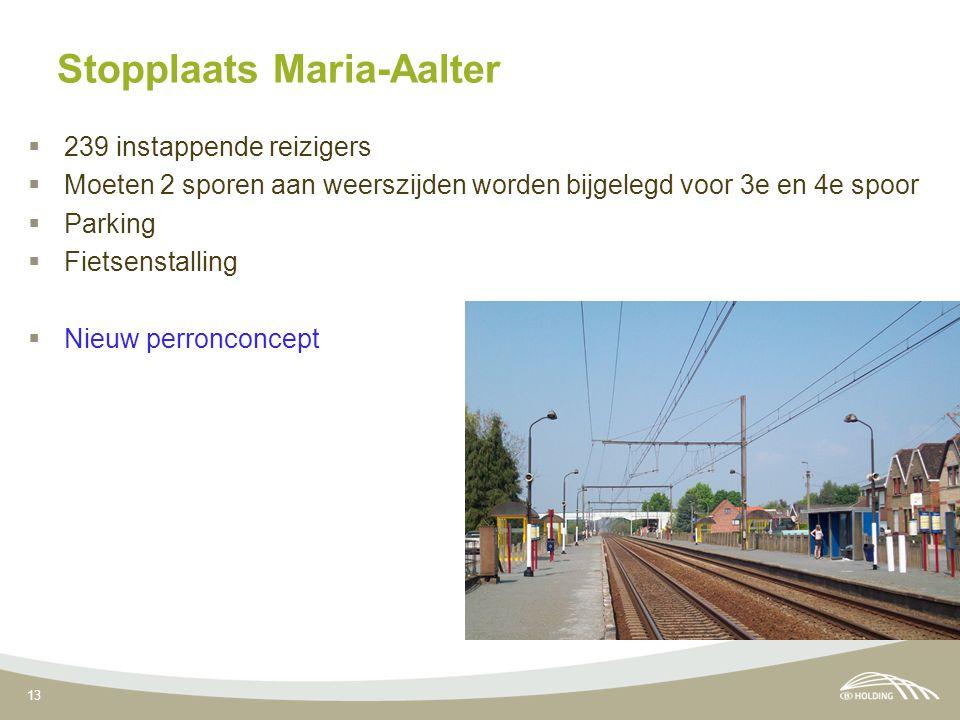 13 Stopplaats Maria-Aalter  239 instappende reizigers  Moeten 2 sporen aan weerszijden worden bijgelegd voor 3e en 4e spoor  Parking  Fietsenstalling  Nieuw perronconcept