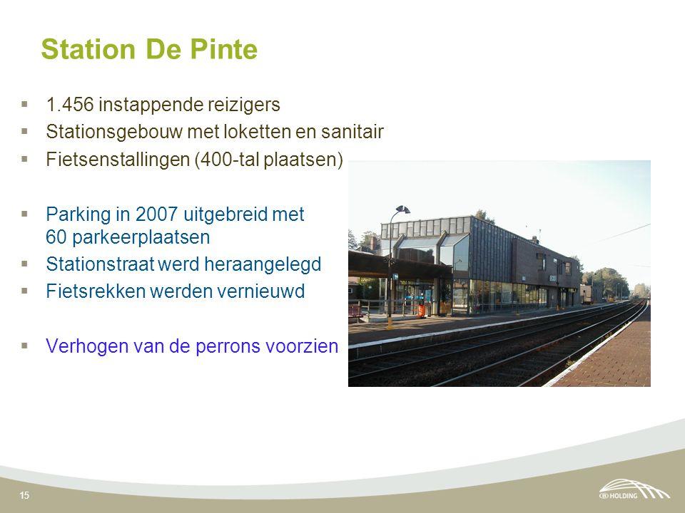 15 Station De Pinte  1.456 instappende reizigers  Stationsgebouw met loketten en sanitair  Fietsenstallingen (400-tal plaatsen)  Parking in 2007 uitgebreid met 60 parkeerplaatsen  Stationstraat werd heraangelegd  Fietsrekken werden vernieuwd  Verhogen van de perrons voorzien
