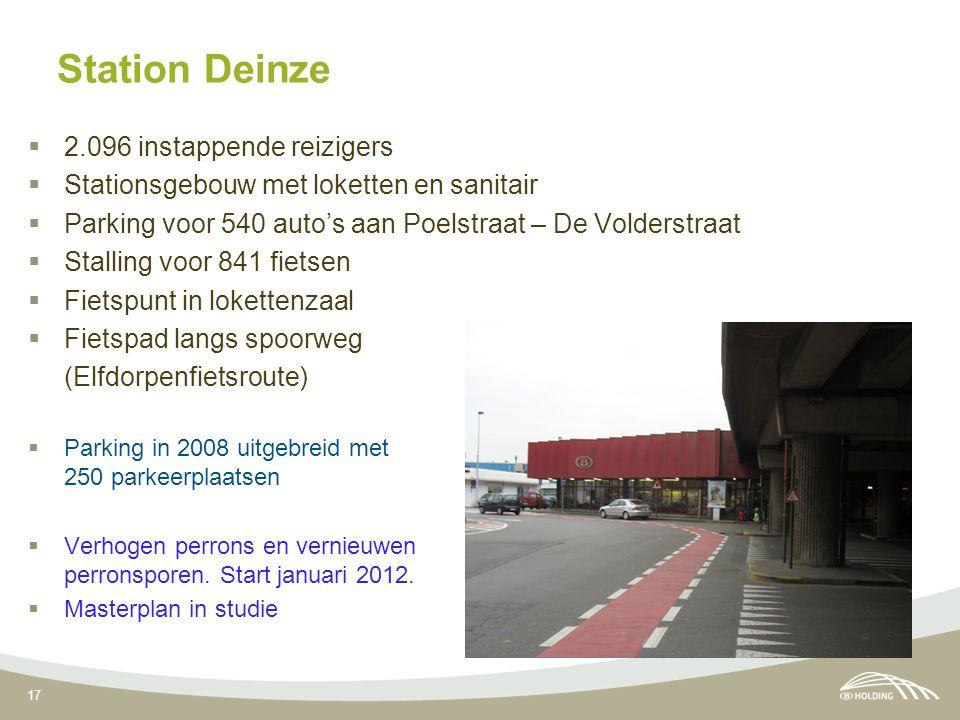 17 Station Deinze  2.096 instappende reizigers  Stationsgebouw met loketten en sanitair  Parking voor 540 auto's aan Poelstraat – De Volderstraat  Stalling voor 841 fietsen  Fietspunt in lokettenzaal  Fietspad langs spoorweg (Elfdorpenfietsroute)  Parking in 2008 uitgebreid met 250 parkeerplaatsen  Verhogen perrons en vernieuwen perronsporen.