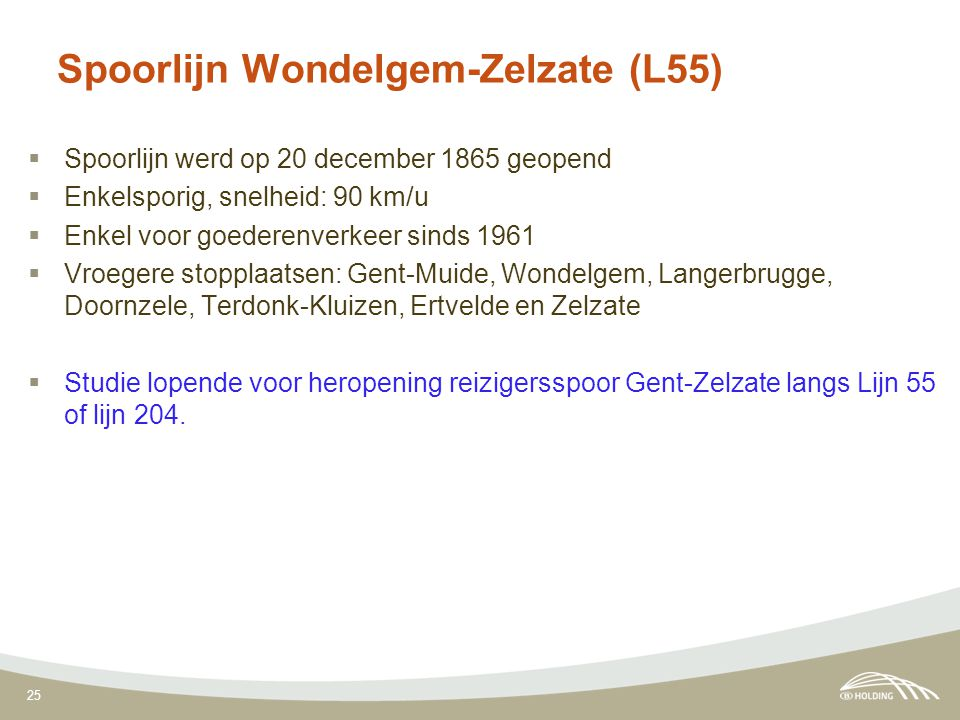 25 Spoorlijn Wondelgem-Zelzate (L55)  Spoorlijn werd op 20 december 1865 geopend  Enkelsporig, snelheid: 90 km/u  Enkel voor goederenverkeer sinds 1961  Vroegere stopplaatsen: Gent-Muide, Wondelgem, Langerbrugge, Doornzele, Terdonk-Kluizen, Ertvelde en Zelzate  Studie lopende voor heropening reizigersspoor Gent-Zelzate langs Lijn 55 of lijn 204.