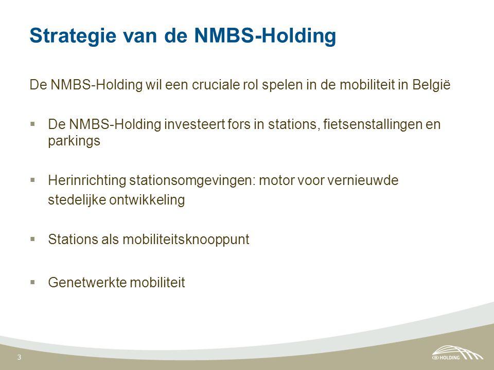 3 Strategie van de NMBS-Holding De NMBS-Holding wil een cruciale rol spelen in de mobiliteit in België  De NMBS-Holding investeert fors in stations, fietsenstallingen en parkings  Herinrichting stationsomgevingen: motor voor vernieuwde stedelijke ontwikkeling  Stations als mobiliteitsknooppunt  Genetwerkte mobiliteit