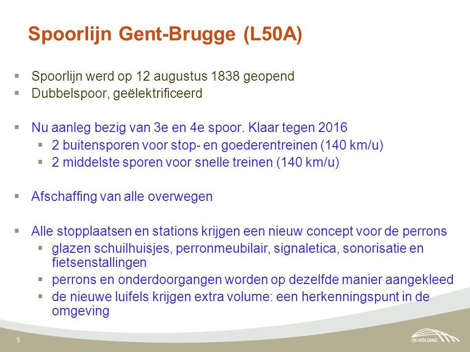 5 Spoorlijn Gent-Brugge (L50A)  Spoorlijn werd op 12 augustus 1838 geopend  Dubbelspoor, geëlektrificeerd  Nu aanleg bezig van 3e en 4e spoor. Klaa