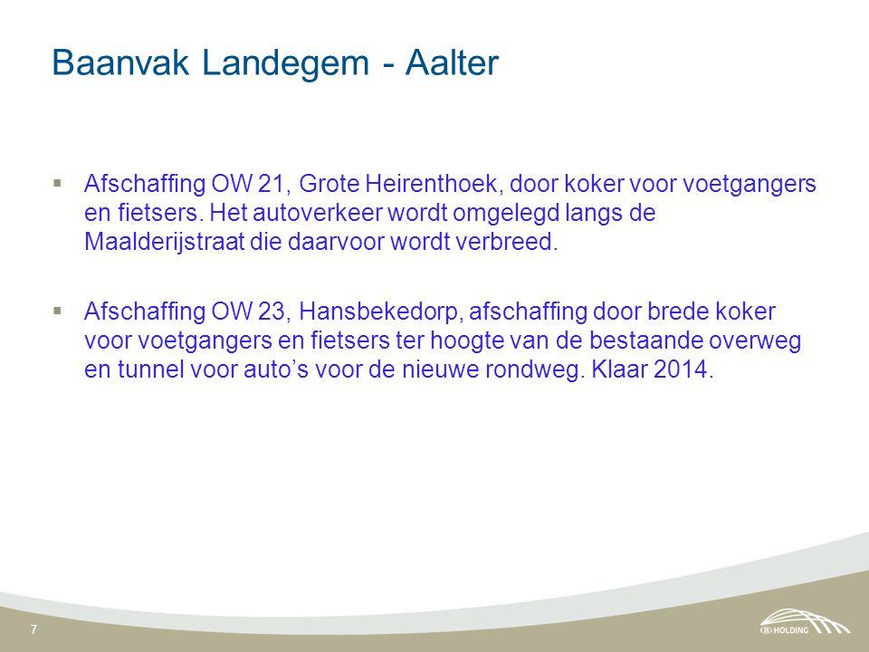 7 Baanvak Landegem - Aalter  Afschaffing OW 21, Grote Heirenthoek, door koker voor voetgangers en fietsers. Het autoverkeer wordt omgelegd langs de M