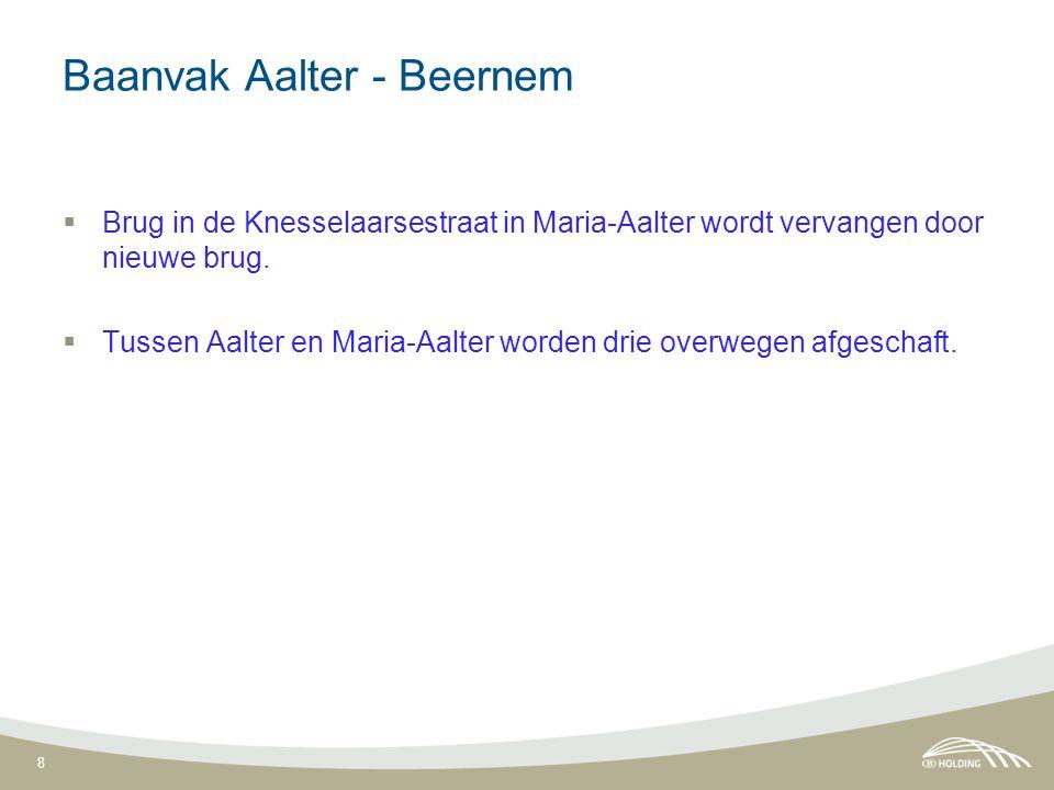 8 Baanvak Aalter - Beernem  Brug in de Knesselaarsestraat in Maria-Aalter wordt vervangen door nieuwe brug.  Tussen Aalter en Maria-Aalter worden dr