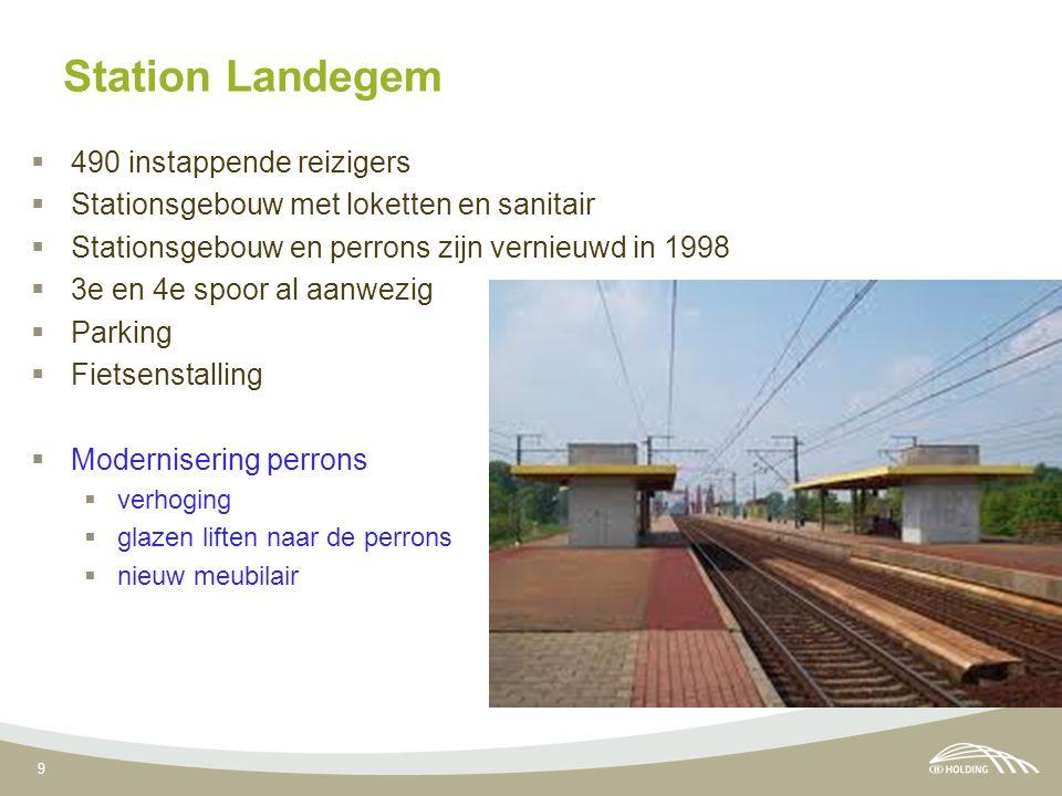 9 Station Landegem  490 instappende reizigers  Stationsgebouw met loketten en sanitair  Stationsgebouw en perrons zijn vernieuwd in 1998  3e en 4e