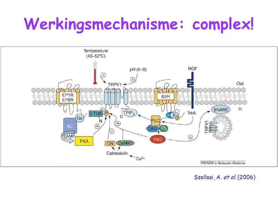 Werkingsmechanisme: complex! Szallasi, A. et al. (2006)