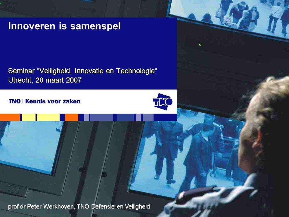 """prof dr Peter Werkhoven, TNO Defensie en Veiligheid Seminar """"Veiligheid, Innovatie en Technologie"""" Utrecht, 28 maart 2007 Innoveren is samenspel"""