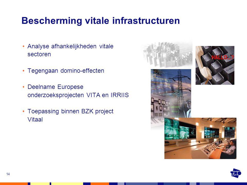14 Bescherming vitale infrastructuren •Analyse afhankelijkheden vitale sectoren •Tegengaan domino-effecten •Deelname Europese onderzoeksprojecten VITA