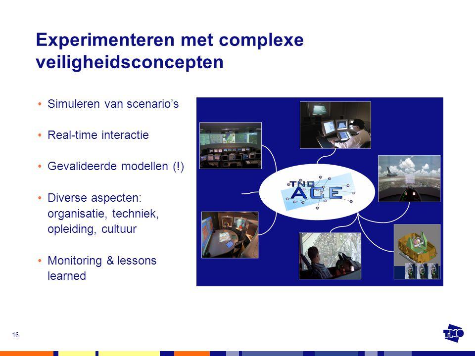 16 •Simuleren van scenario's •Real-time interactie •Gevalideerde modellen (!) •Diverse aspecten: organisatie, techniek, opleiding, cultuur •Monitoring