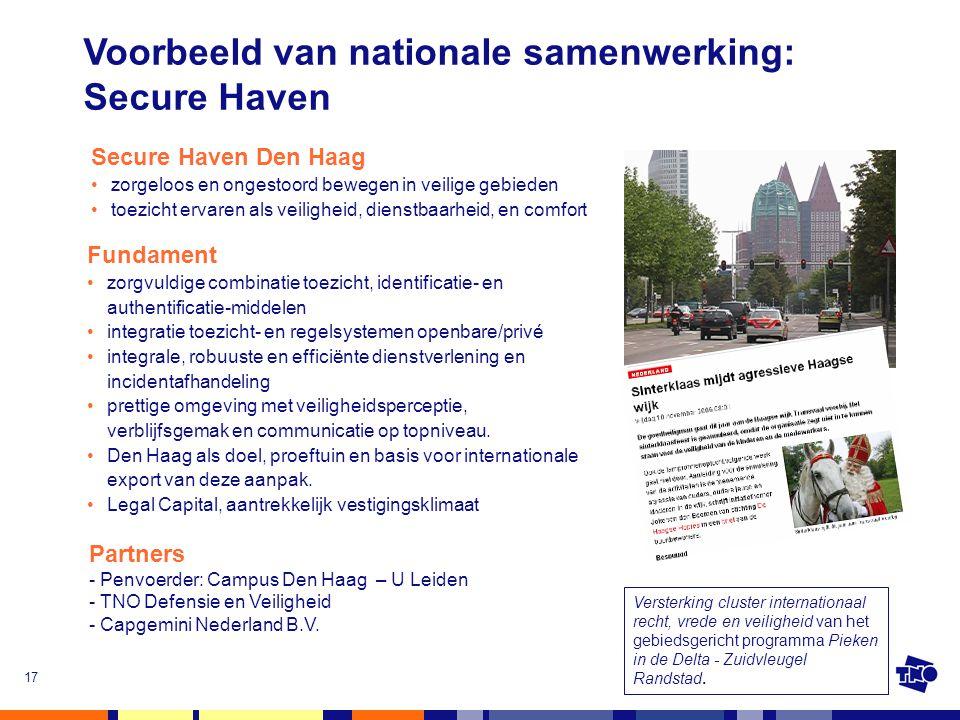 17 Versterking cluster internationaal recht, vrede en veiligheid van het gebiedsgericht programma Pieken in de Delta - Zuidvleugel Randstad. Voorbeeld