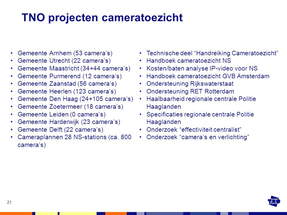 21 TNO projecten cameratoezicht •Gemeente Arnhem (53 camera's) •Gemeente Utrecht (22 camera's) •Gemeente Maastricht (34+44 camera's) •Gemeente Purmere