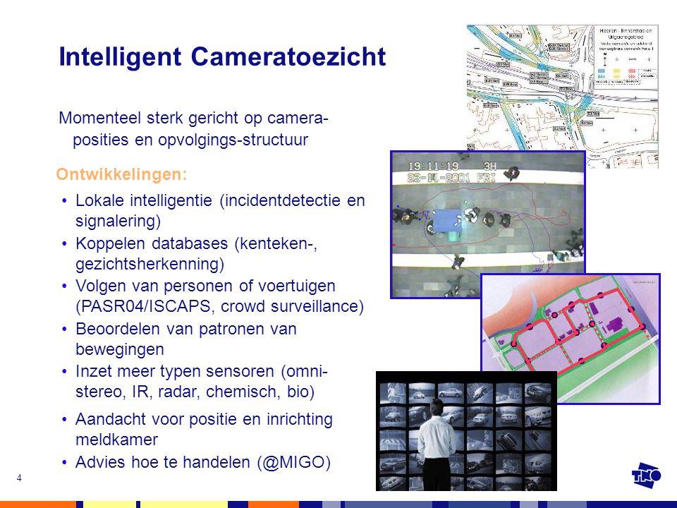 4 Intelligent Cameratoezicht Momenteel sterk gericht op camera- posities en opvolgings-structuur •Advies hoe te handelen (@MIGO) Ontwikkelingen: •Loka