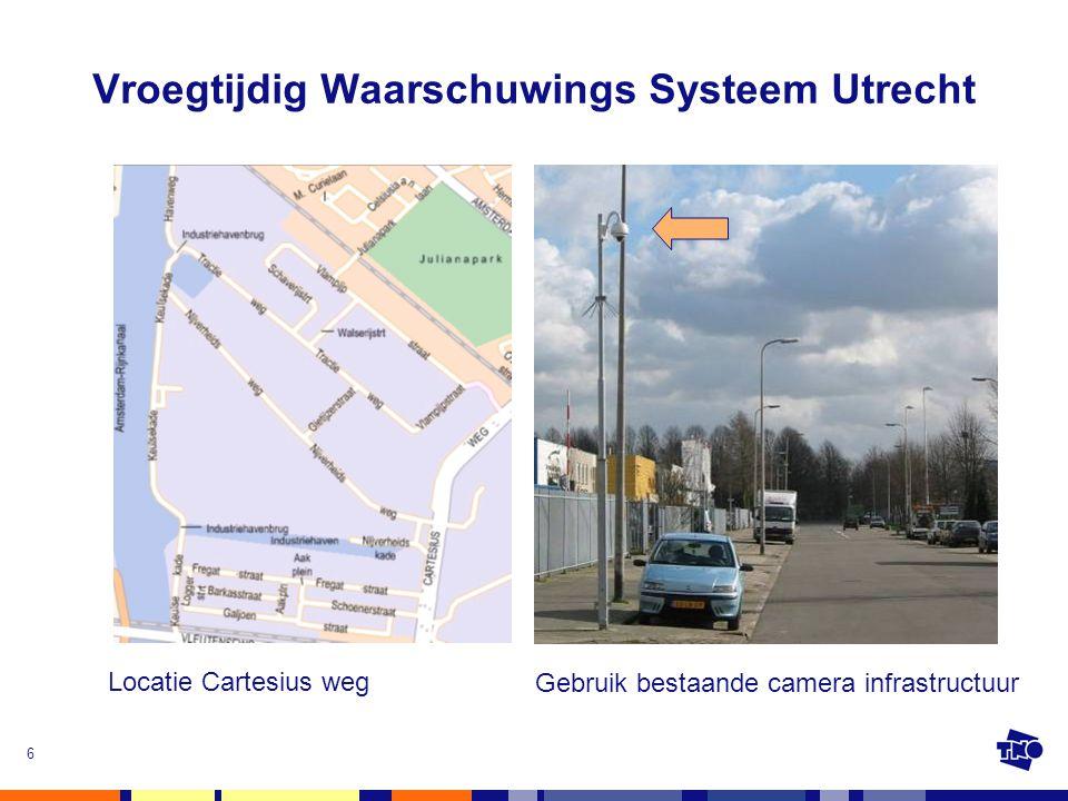 6 Vroegtijdig Waarschuwings Systeem Utrecht Locatie Cartesius weg Gebruik bestaande camera infrastructuur