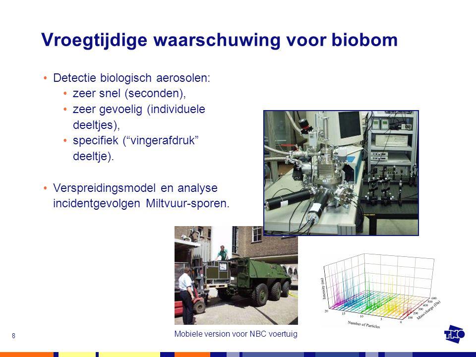 8 Vroegtijdige waarschuwing voor biobom Mobiele version voor NBC voertuig •Detectie biologisch aerosolen: •zeer snel (seconden), •zeer gevoelig (indiv