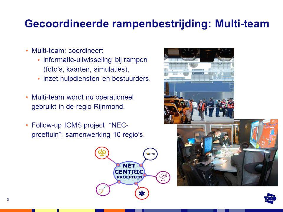 9 Gecoordineerde rampenbestrijding: Multi-team •Multi-team: coordineert •informatie-uitwisseling bij rampen (foto's, kaarten, simulaties), •inzet hulp