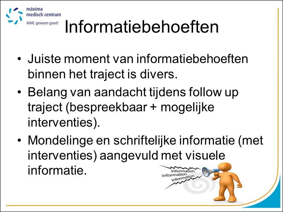 Informatiebehoeften •Juiste moment van informatiebehoeften binnen het traject is divers.