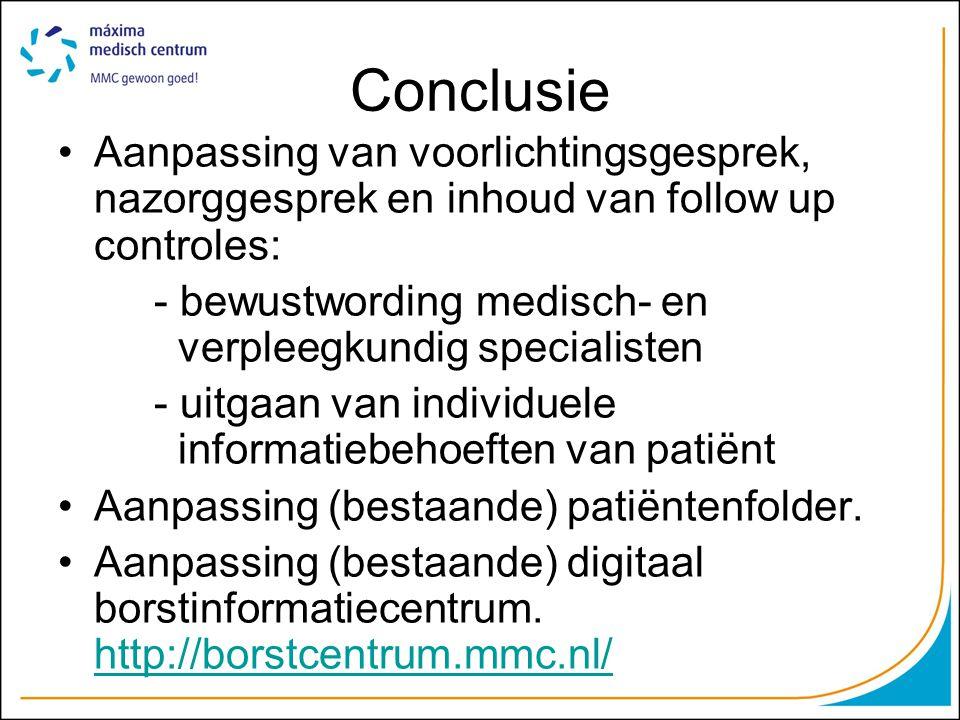 Conclusie •Aanpassing van voorlichtingsgesprek, nazorggesprek en inhoud van follow up controles: - bewustwording medisch- en verpleegkundig specialisten - uitgaan van individuele informatiebehoeften van patiënt •Aanpassing (bestaande) patiëntenfolder.