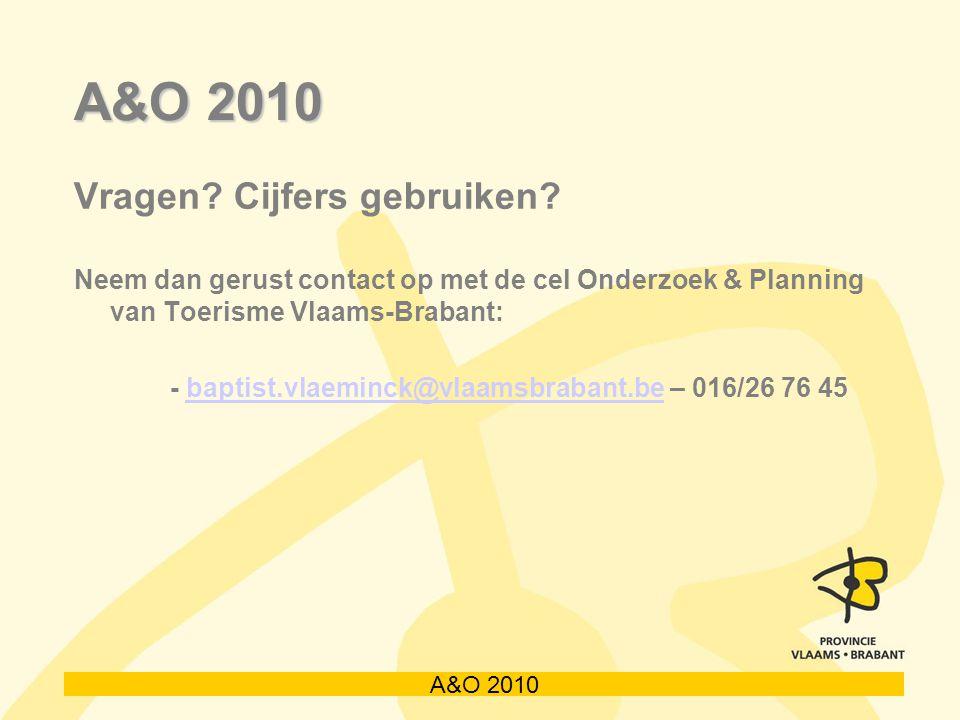 A&O 2010 Vragen? Cijfers gebruiken? Neem dan gerust contact op met de cel Onderzoek & Planning van Toerisme Vlaams-Brabant: - baptist.vlaeminck@vlaams