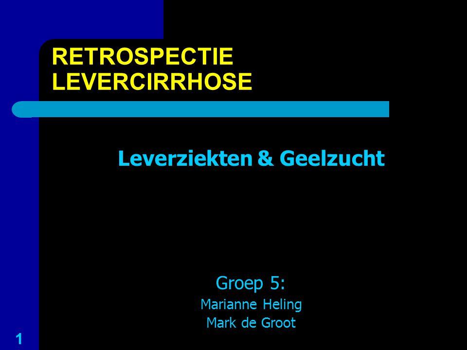 RETROSPECTIE LEVERCIRRHOSE Leverziekten & Geelzucht Groep 5: Marianne Heling Mark de Groot 1