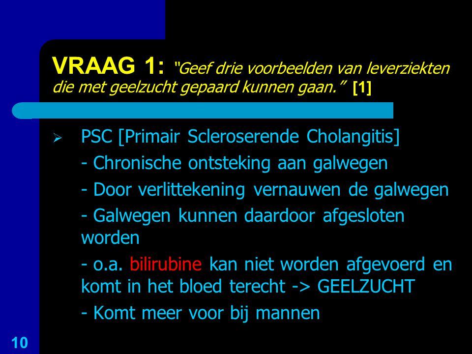 """VRAAG 1: """"Geef drie voorbeelden van leverziekten die met geelzucht gepaard kunnen gaan."""" [1]  PSC [Primair Scleroserende Cholangitis] - Chronische on"""