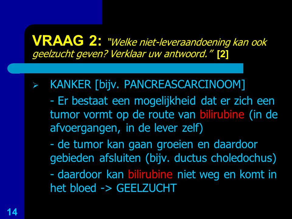 """VRAAG 2: """"Welke niet-leveraandoening kan ook geelzucht geven? Verklaar uw antwoord."""" [2]  KANKER [bijv. PANCREASCARCINOOM] - Er bestaat een mogelijkh"""