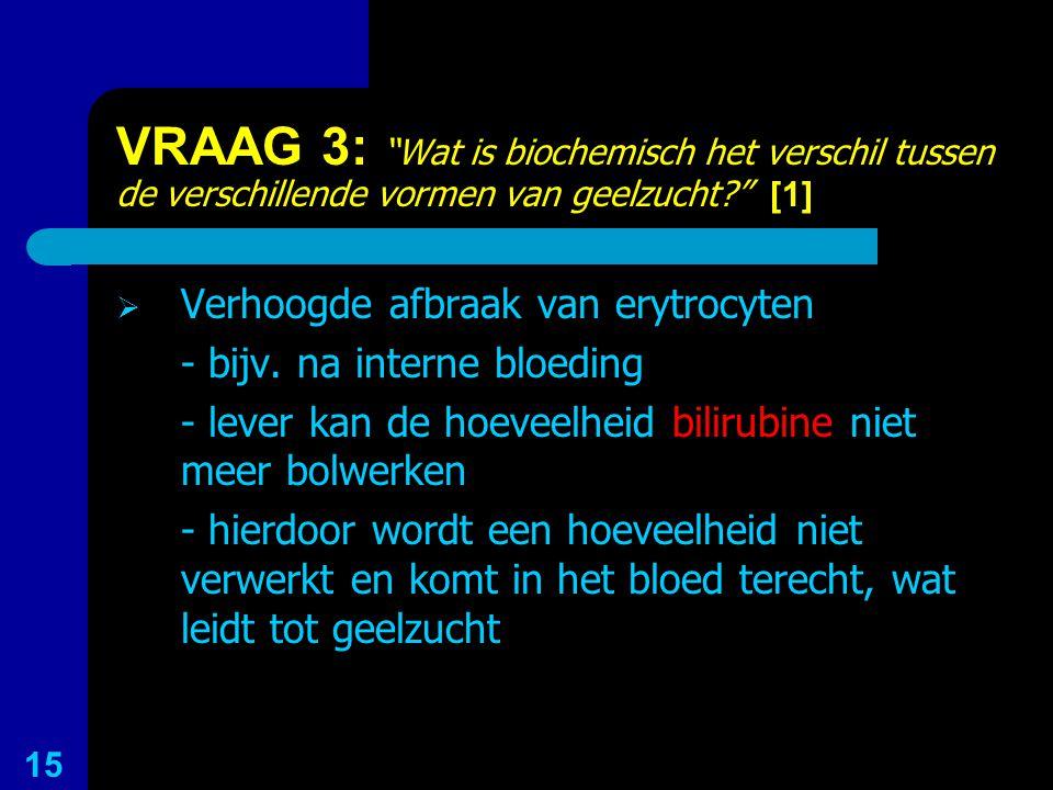 """VRAAG 3: """"Wat is biochemisch het verschil tussen de verschillende vormen van geelzucht?"""" [1]  Verhoogde afbraak van erytrocyten - bijv. na interne bl"""
