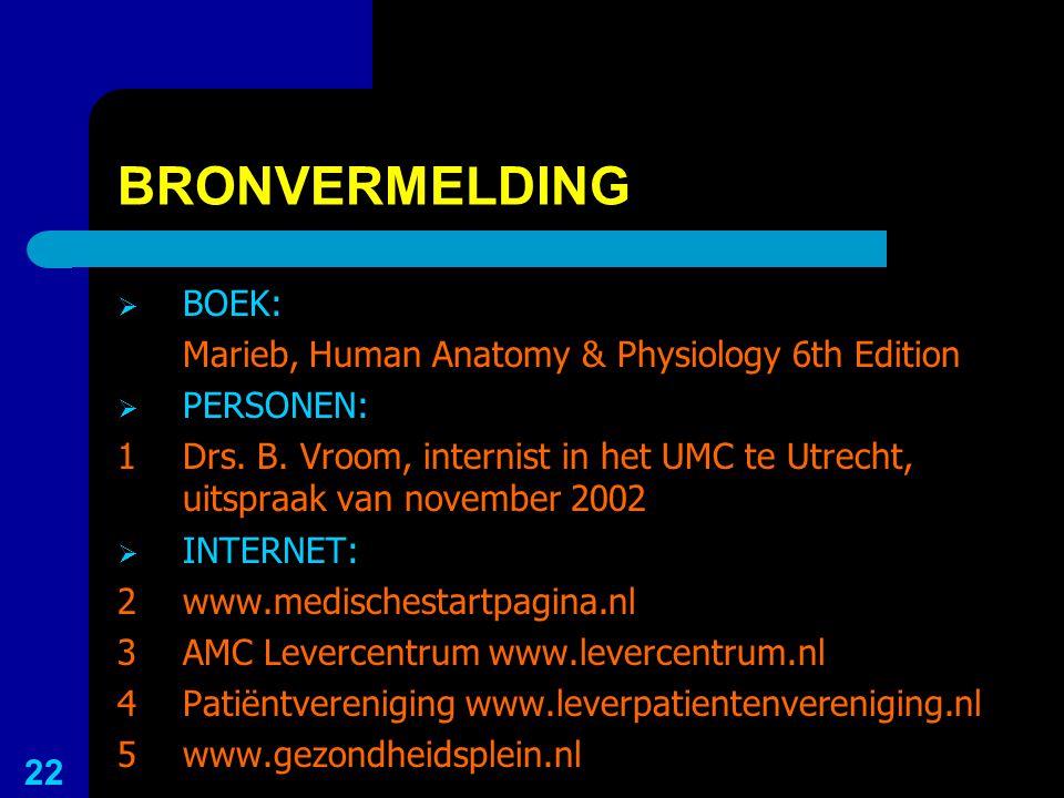 BRONVERMELDING  BOEK: Marieb, Human Anatomy & Physiology 6th Edition  PERSONEN: 1Drs. B. Vroom, internist in het UMC te Utrecht, uitspraak van novem