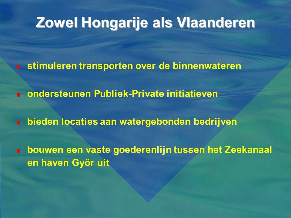 Zowel Hongarije als Vlaanderen  stimuleren transporten over de binnenwateren  ondersteunen Publiek-Private initiatieven  bieden locaties aan waterg