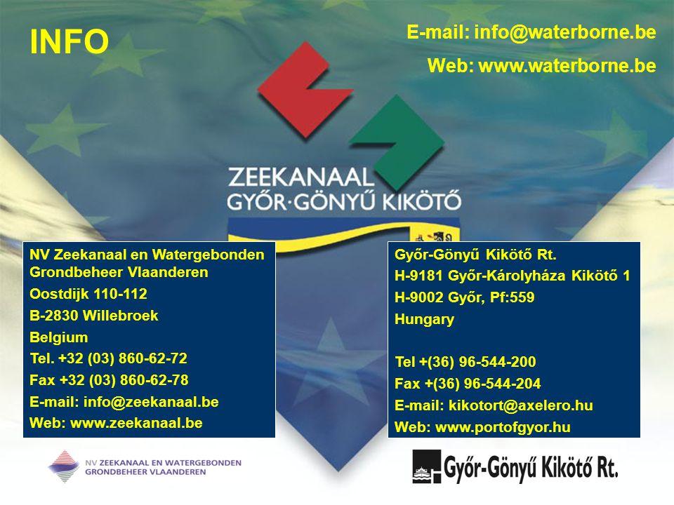 INFO NV Zeekanaal en Watergebonden Grondbeheer Vlaanderen Oostdijk 110-112 B-2830 Willebroek Belgium Tel. +32 (03) 860-62-72 Fax +32 (03) 860-62-78 E-