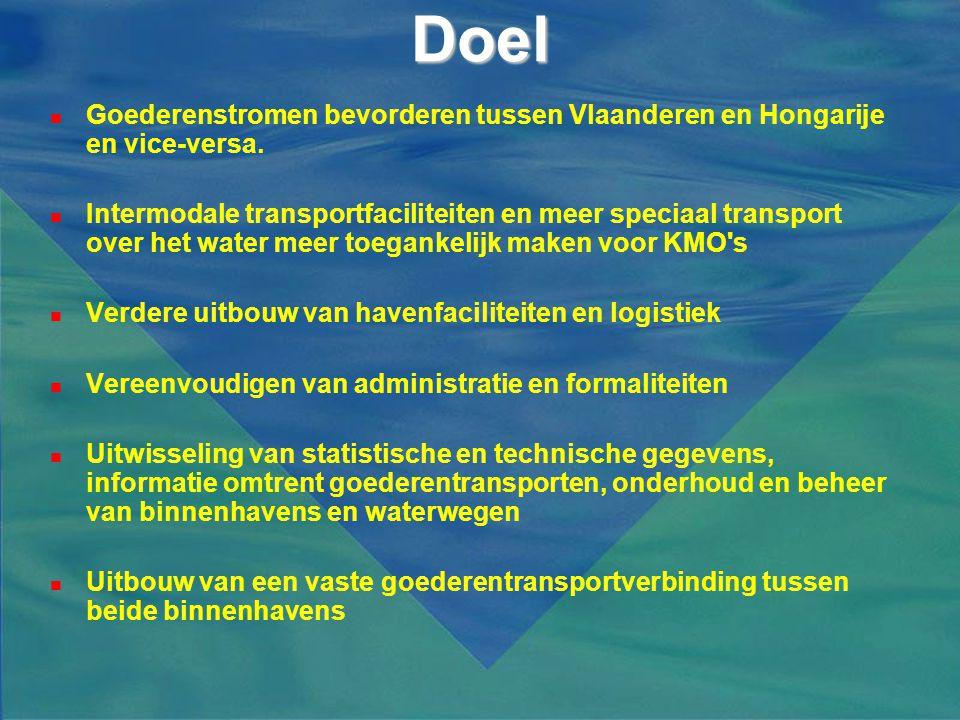Doel  Goederenstromen bevorderen tussen Vlaanderen en Hongarije en vice-versa.  Intermodale transportfaciliteiten en meer speciaal transport over he