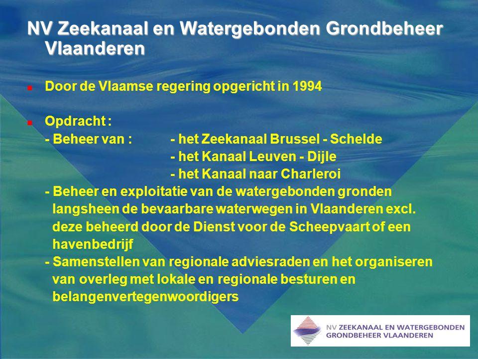 NV Zeekanaal en Watergebonden Grondbeheer Vlaanderen  Door de Vlaamse regering opgericht in 1994  Opdracht : - Beheer van : - het Zeekanaal Brussel