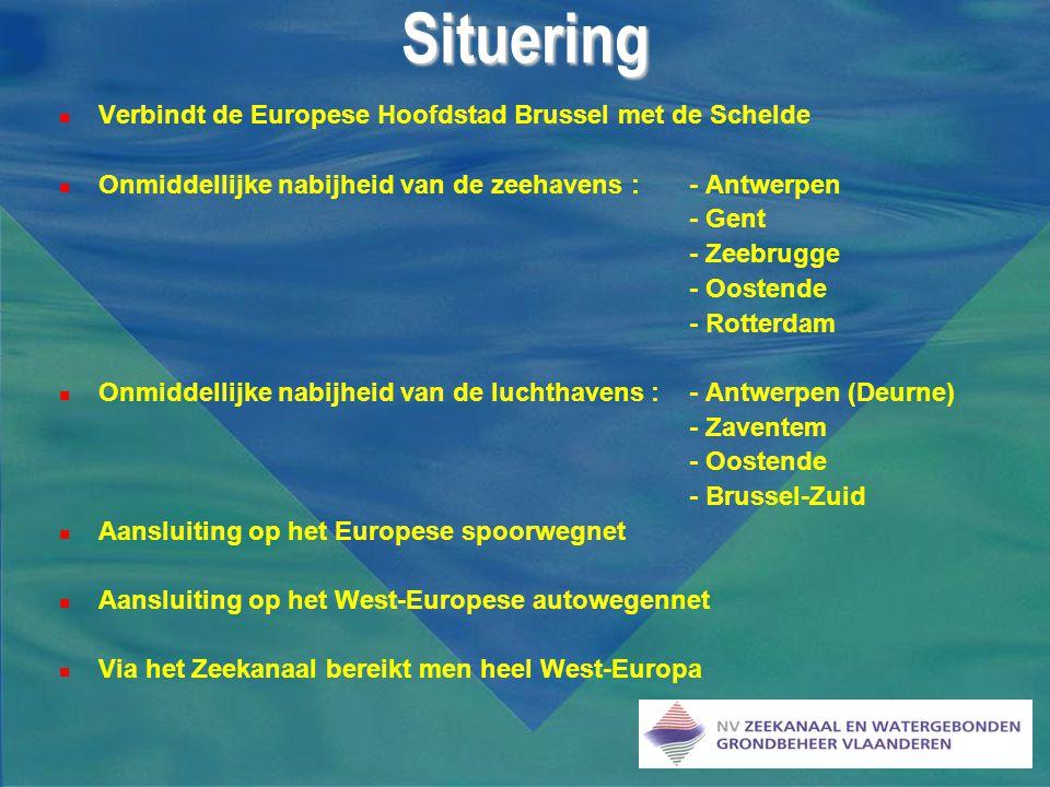  Verbindt de Europese Hoofdstad Brussel met de Schelde  Onmiddellijke nabijheid van de zeehavens : - Antwerpen - Gent - Zeebrugge - Oostende - Rotte