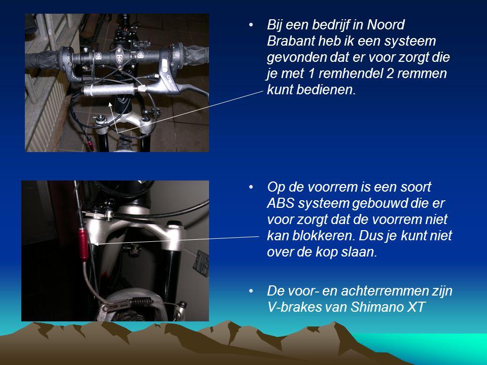 • •Bij een bedrijf in Noord Brabant heb ik een systeem gevonden dat er voor zorgt die je met 1 remhendel 2 remmen kunt bedienen.