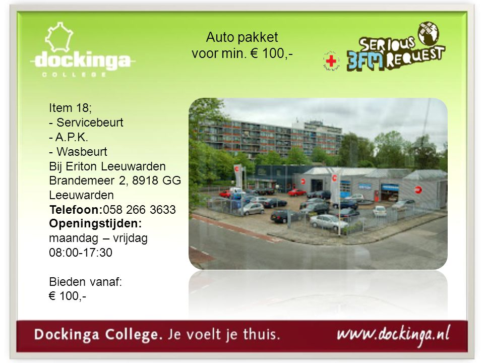 Auto pakket voor min. € 100,- Item 18; - Servicebeurt - A.P.K.