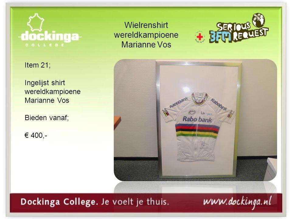 Wielrenshirt wereldkampioene Marianne Vos Item 21; Ingelijst shirt wereldkampioene Marianne Vos Bieden vanaf; € 400,-